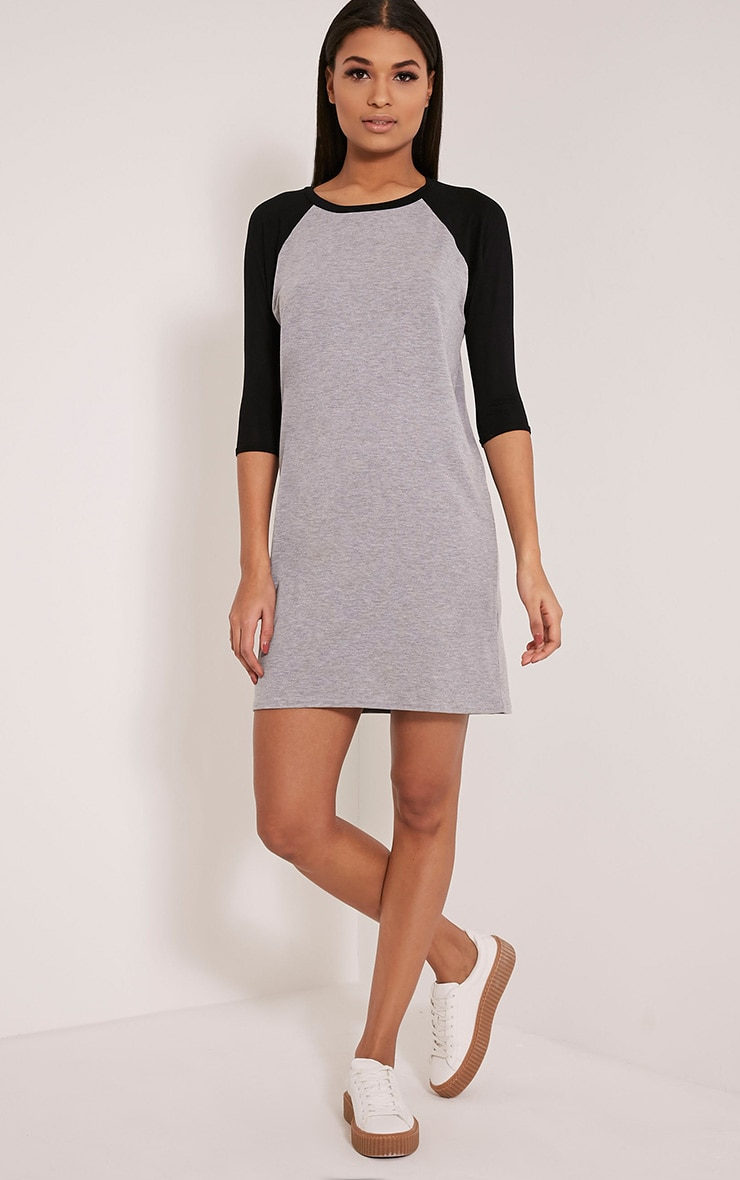 Kalei Grey Contrast Raglan Sleeve T Shirt Dress 5