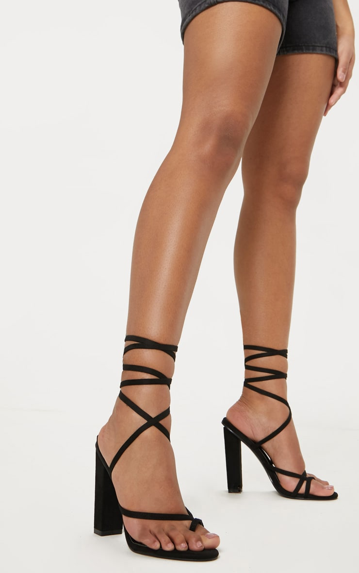 Black Toe Loop Heeled Sandal 1
