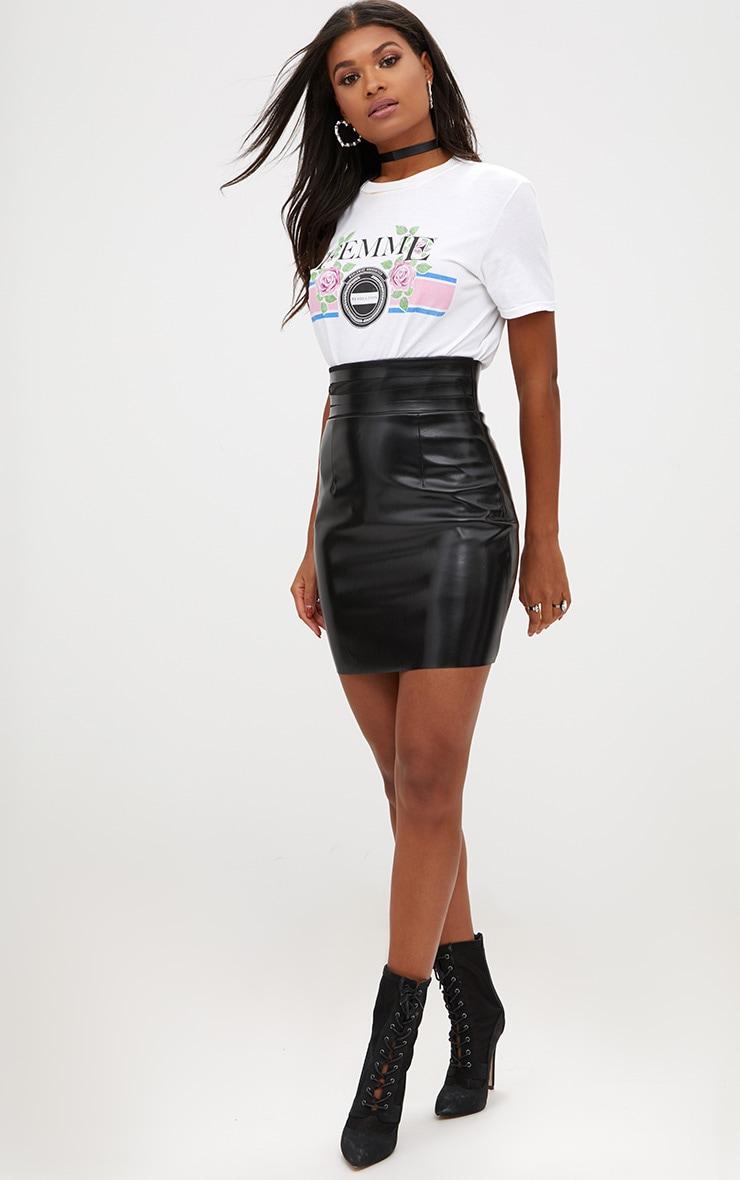 Black Faux Leather Strappy Waist Mini Skirt 5