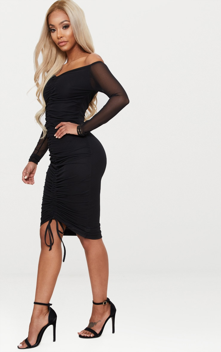 Shape Black Mesh Ruched Bardot Midi Dress 4