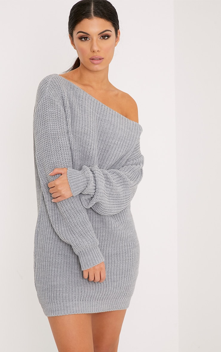 Larissa Grey Off The Shoulder Knitted Dress 1