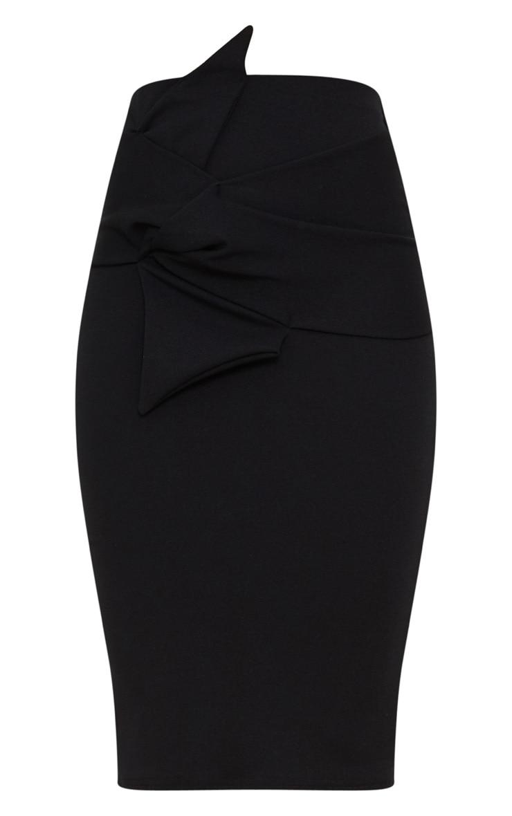 Black Knot Detail Midi Skirt  3