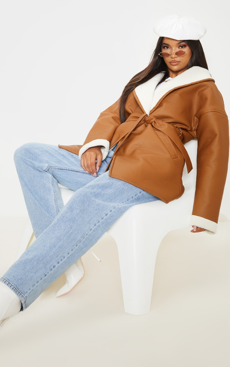 Tan Aviator PU Tie Waist Long Sleeve Jacket 4