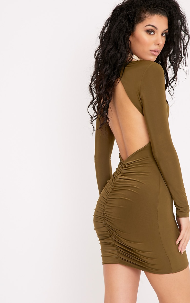 Alisiah Khaki Ruched Back Bodycon Dress 1