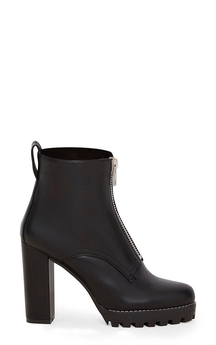 Black Platform Cleated Zip Front Ankle Boot 3