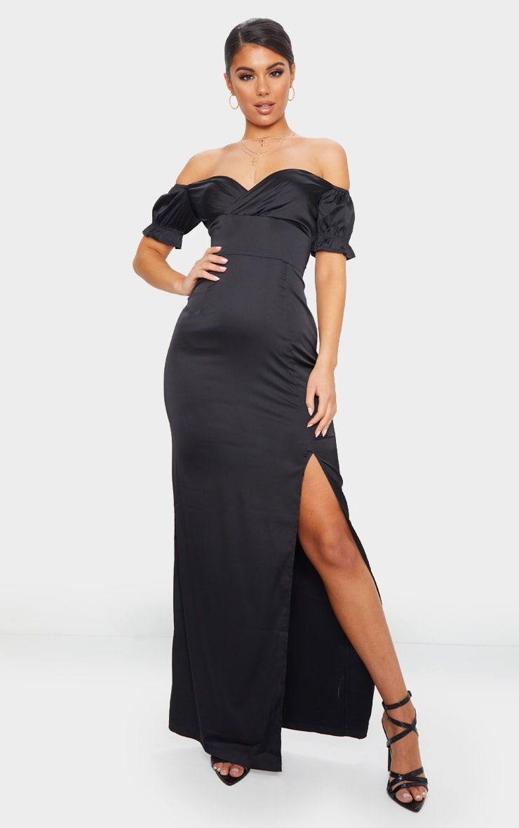 Black Satin Wrap Bardot Maxi Dress 1