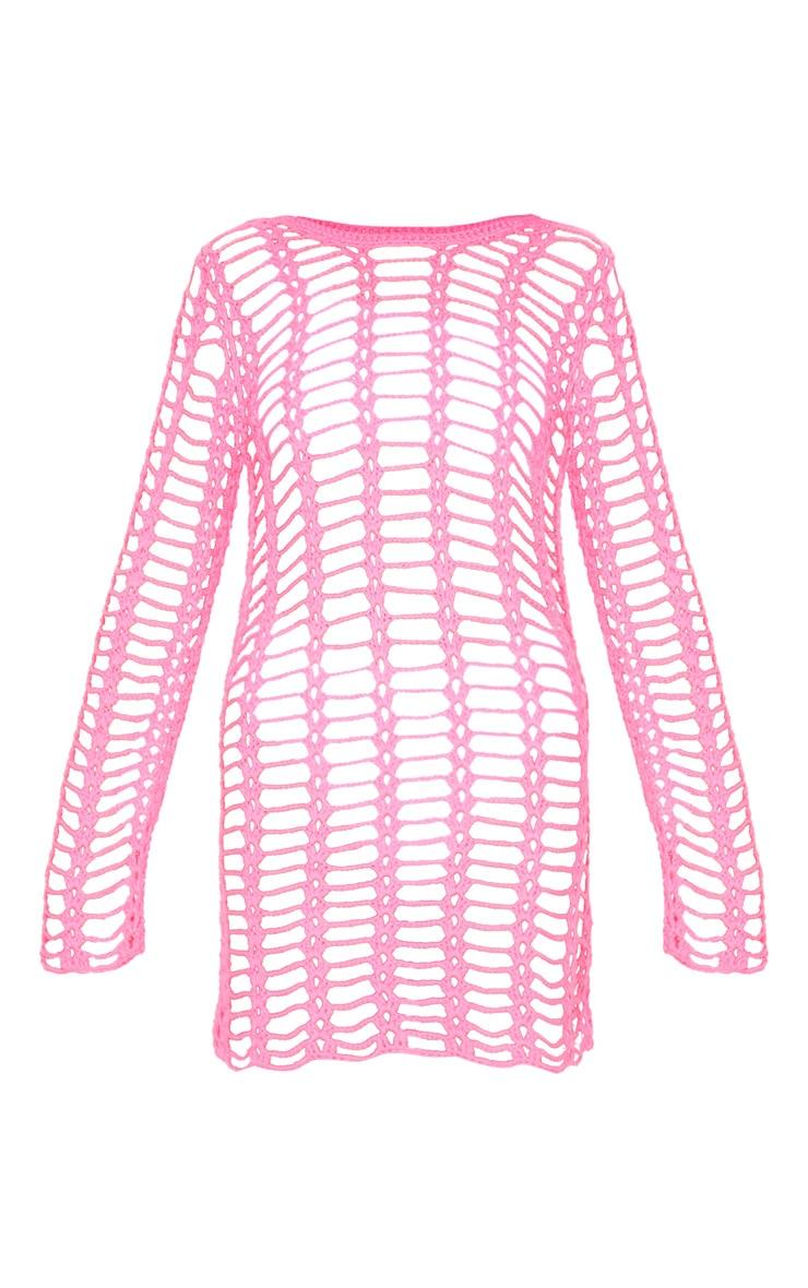 Hot Pink Crochet Ladder Detail Long Sleeve Dress 6
