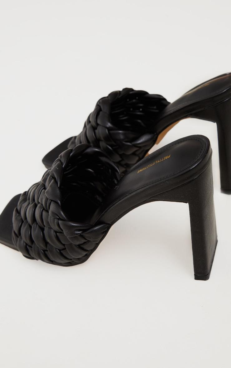 Black Basket Weave Square Toe High Flat Block Heel Mules 4