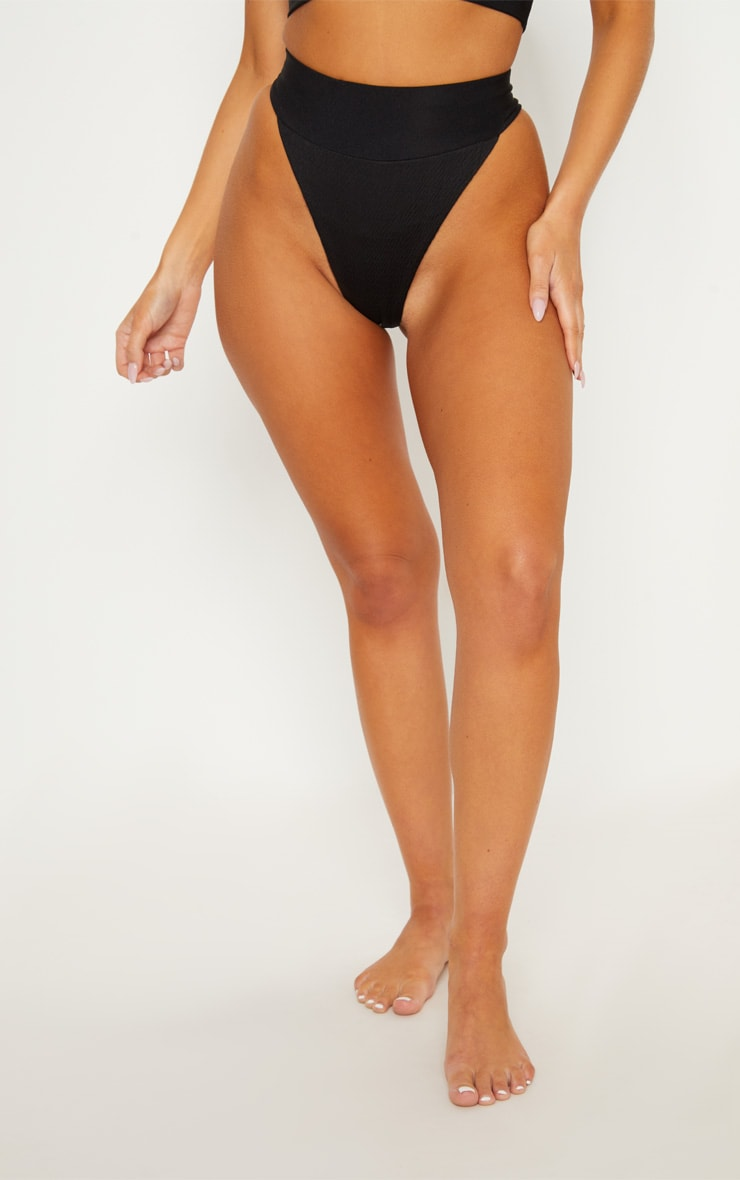 Black Crinkle Elasticated High Waisted Bottom 2