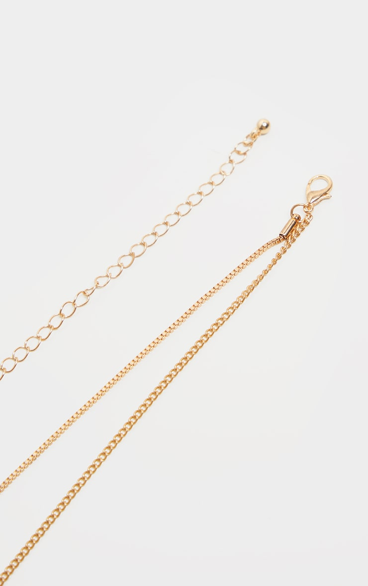 Gold Double Layer Dog Tag Necklace                     4
