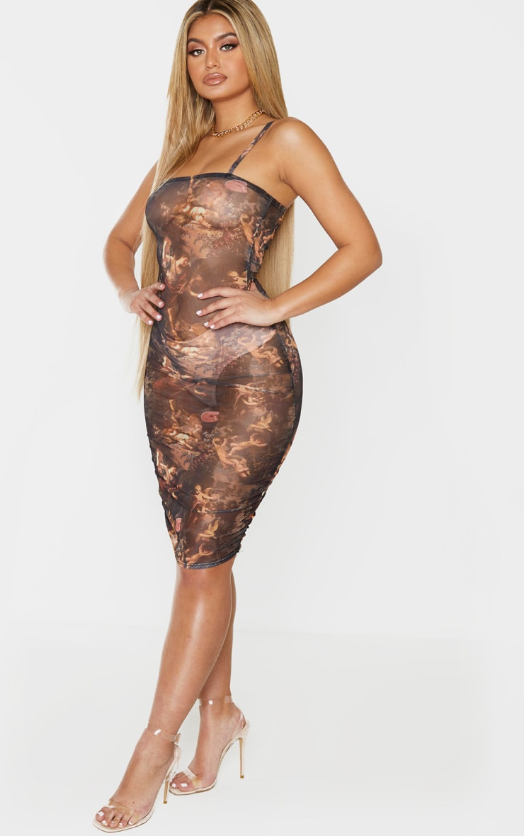 Multi Renaissance Print Mesh Ruched Strappy Bodycon Dress 3