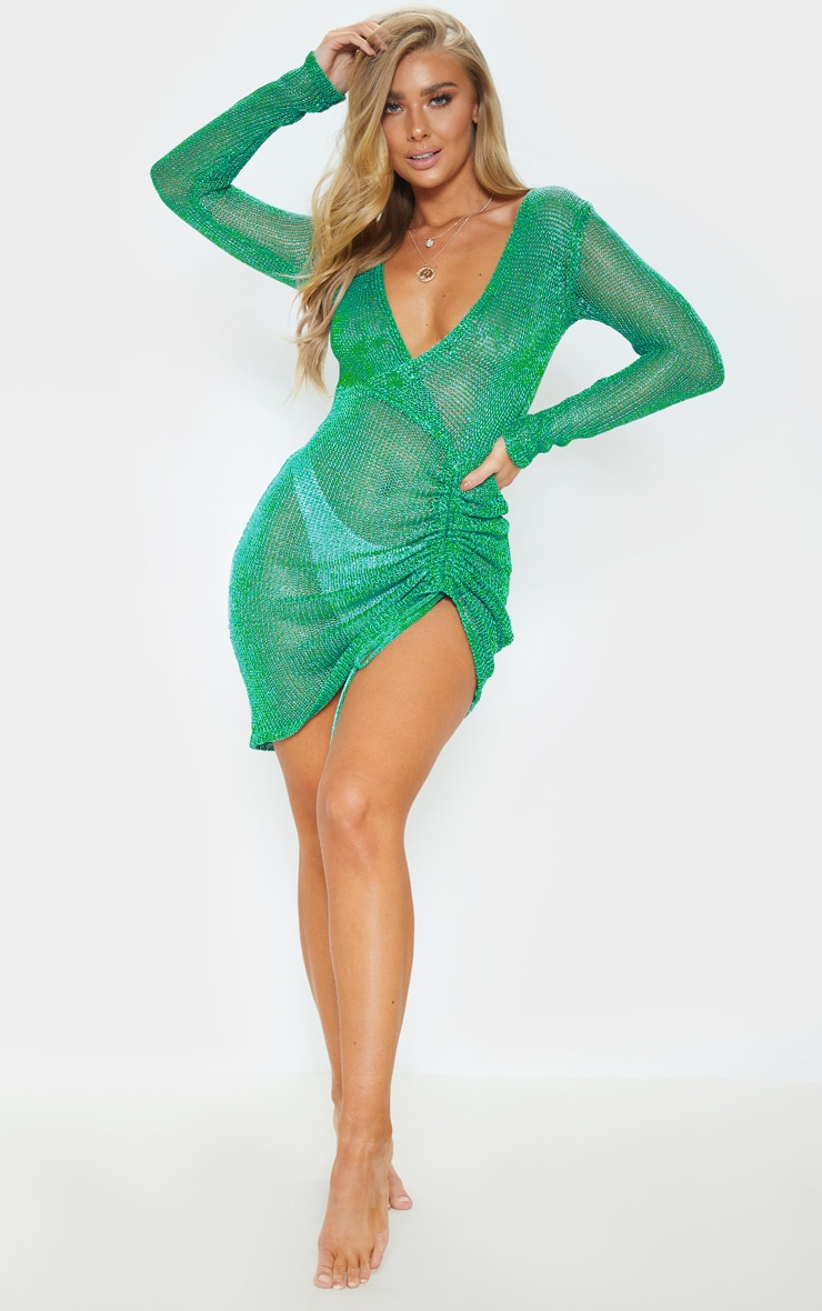 Green Metallic Knitted Wrap Front Dress 4
