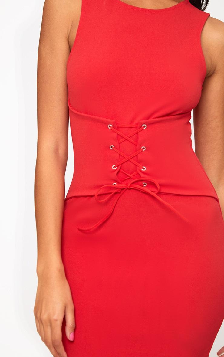 Red Corset Detail Midi Dress 5