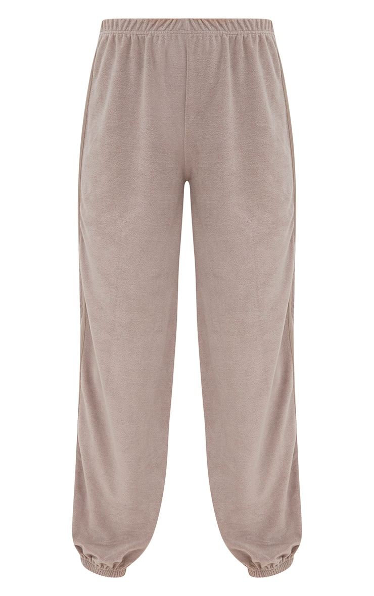 Taupe Velour Side Stripe Joggers  3