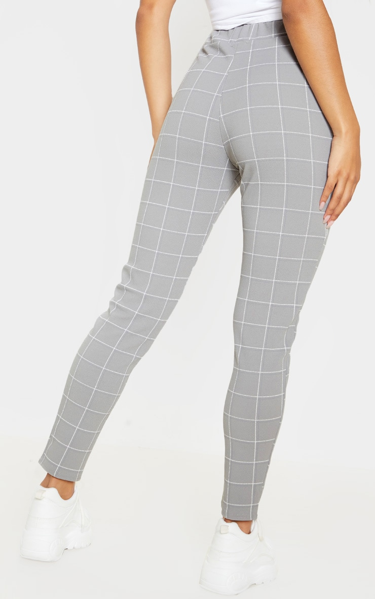 Grey Tweed Check Skinny Trousers 4