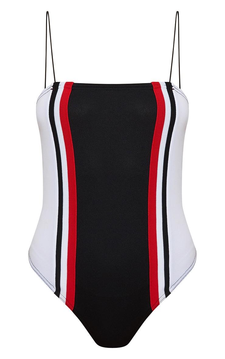 Black Sport Stripe Strappy Thong Bodysuit  2