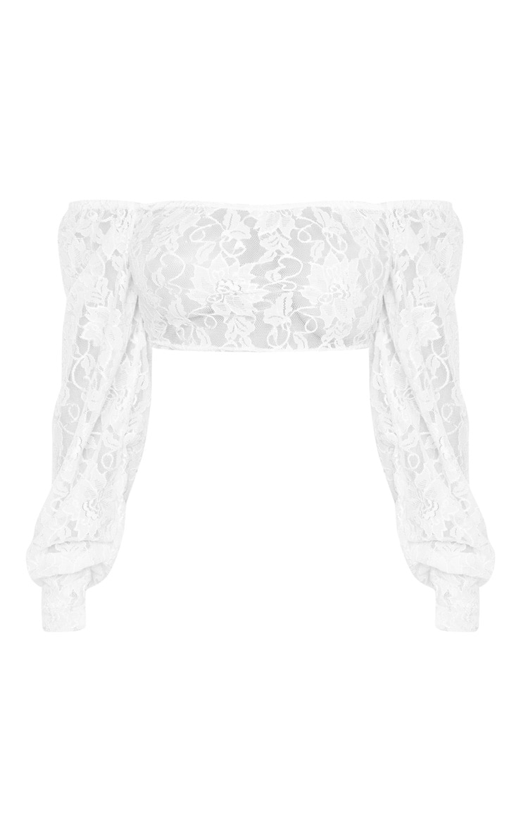 Petite White Lace Bardot Sleeve Crop Top  3