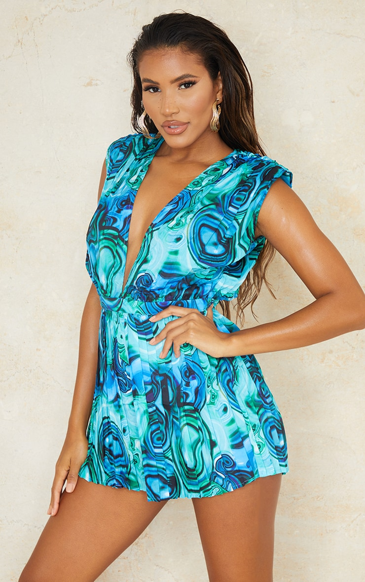 Green Abstract Print Pleated Shoulder Pad Plunge Romper 1