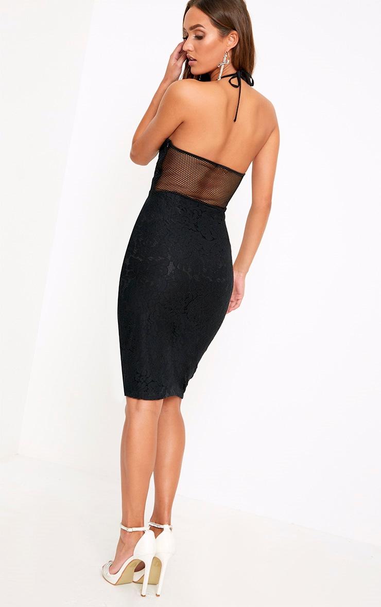 Black Lace Fishnet Panel Halterneck Midi Dress  2