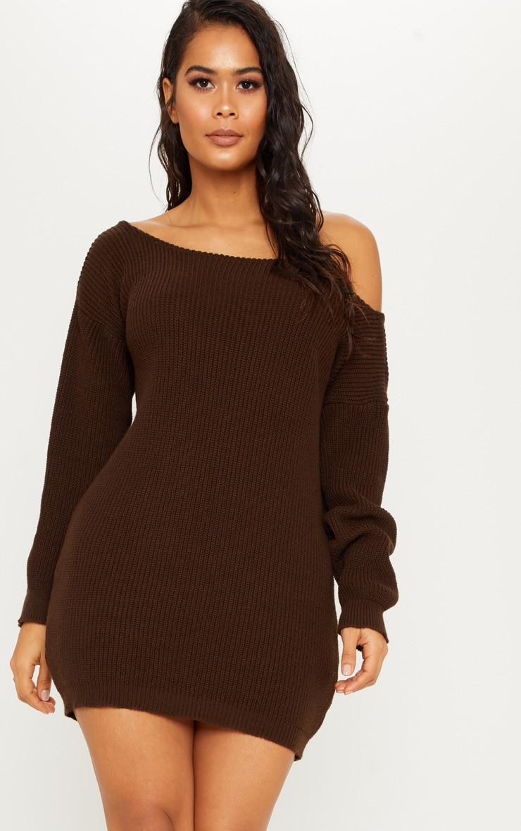 68bdd96e63c9 Chocolate Off The Shoulder Jumper Dress image 1