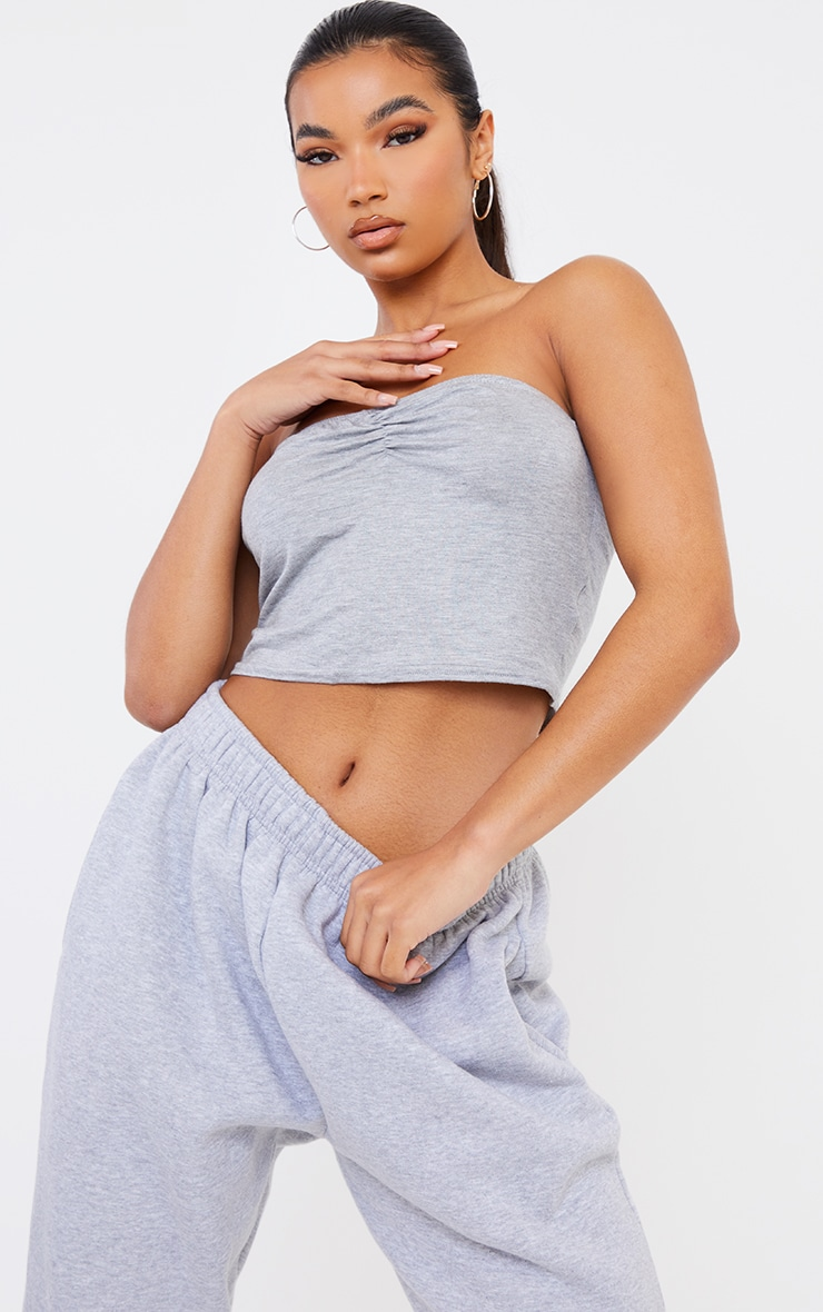 Grey Marl Ruched Front Bandeau Crop Top 1