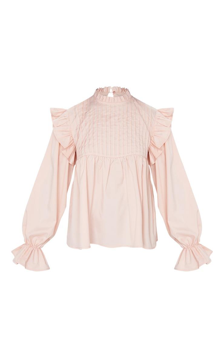 Petite Blush Frill Detail Long Sleeve Blouse 5