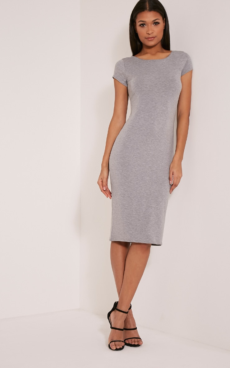 Basic Grey Capped Sleeve Midi Dress 1