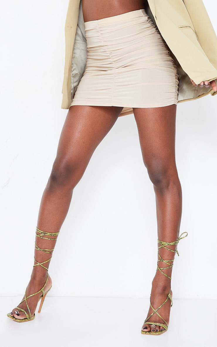 Stone Slinky Double Ruched Seam Mini Skirt 2