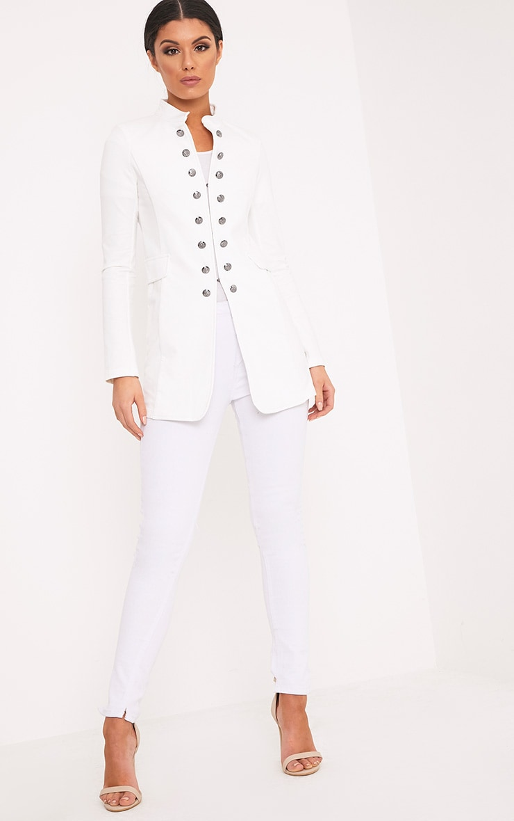 Solenn White Double Button Miltary Coat 5