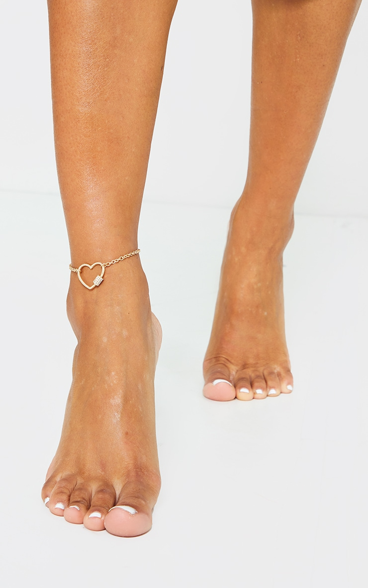 Gold Heart Diamante Anklet 1