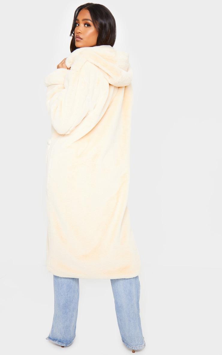 Beige Hooded Faux Fur Military Coat 2
