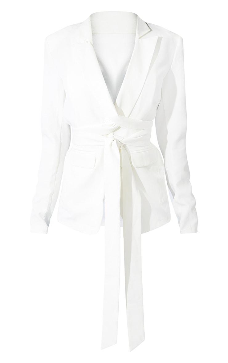 Tall White Fitted Tie Detail Blazer 5