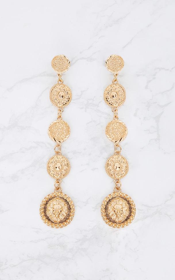 Gold Coin Drop Earrings 2