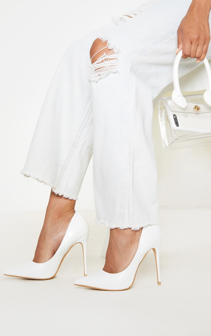 White Croc Court Shoe 2