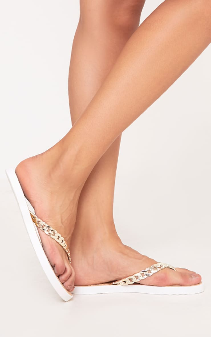 Anyia Gold Chain Flip Flops 1