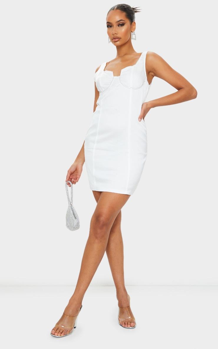 White Diamante Cup Detail Sleeveless Bodycon Dress 3