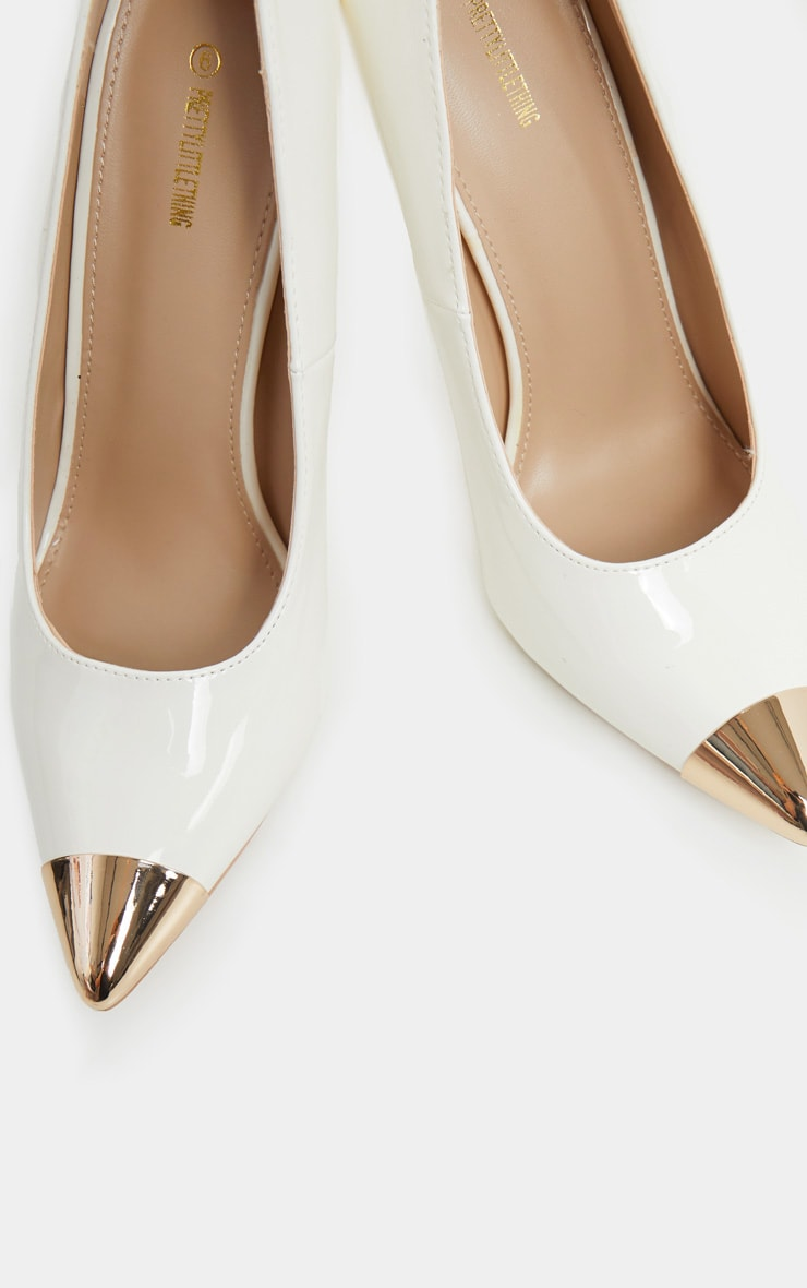 White Metal Toe Court Shoe 4