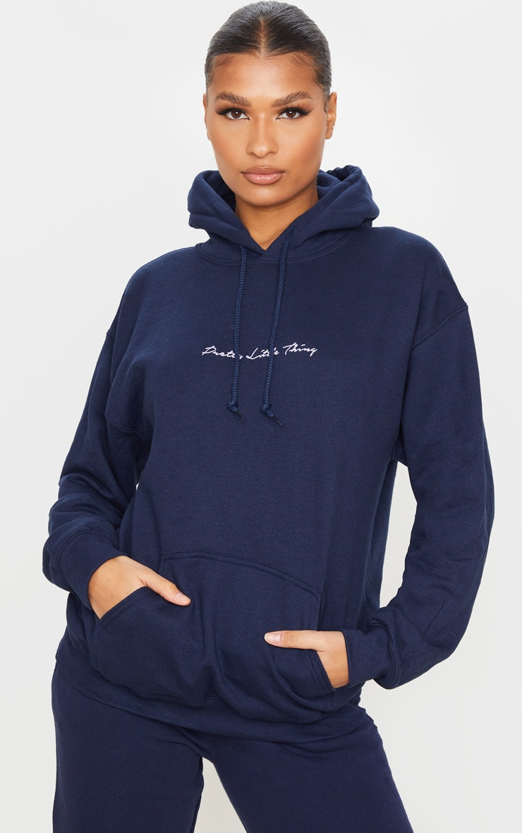 PRETTYLITTLETHING Recycled Navy Oversized Sweat Hoodie 1