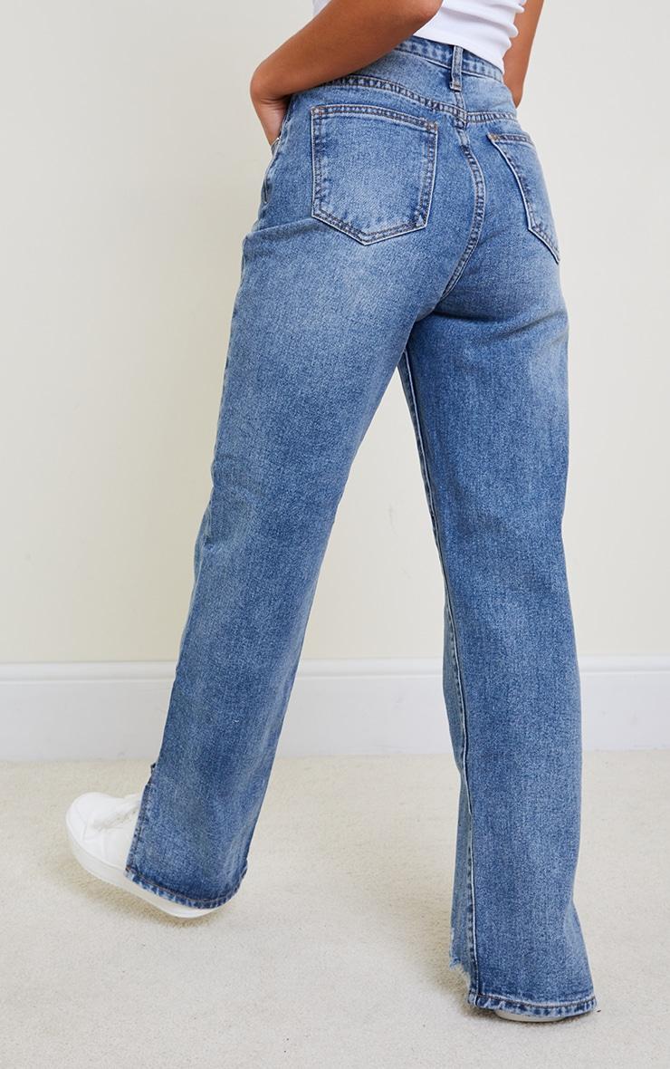 Petite Mid Blue Wash Distressed Split Hem Straight Leg Jeans 3