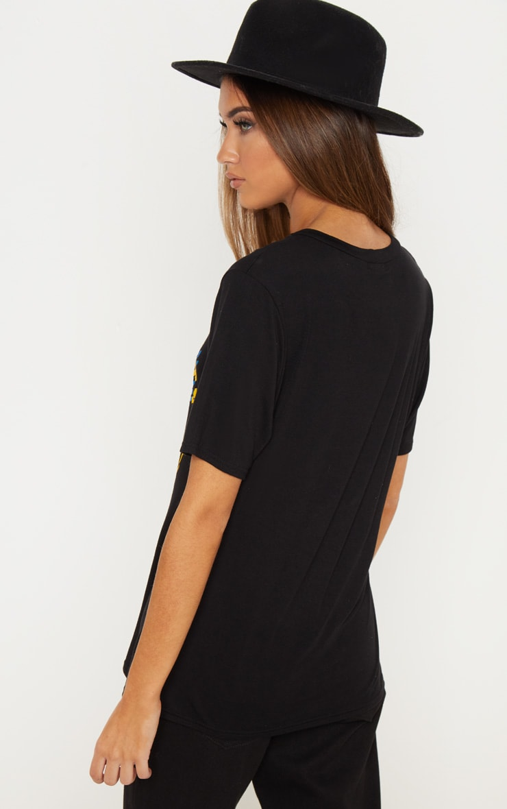 Black Brooklyn Printed Oversized T shirt 2