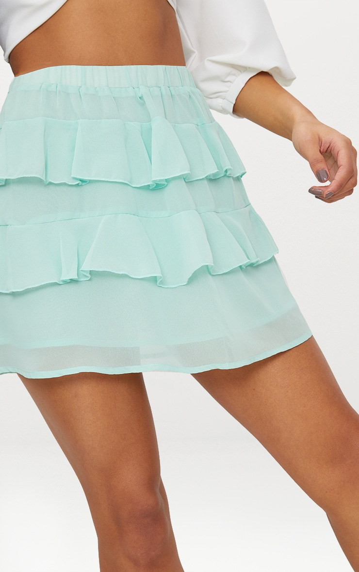 Sage Green Chiffon Ruffle Mini Skirt 5