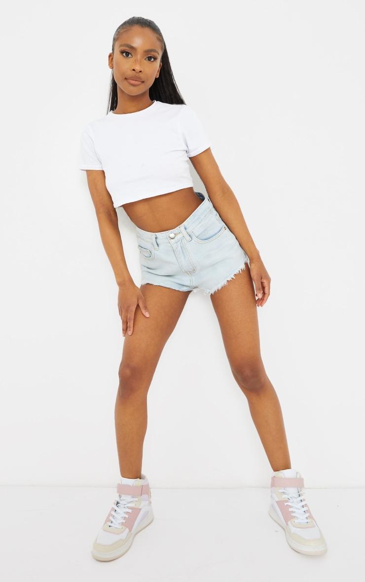 Petite Bleach Wash Frayed Hem Denim Shorts 1