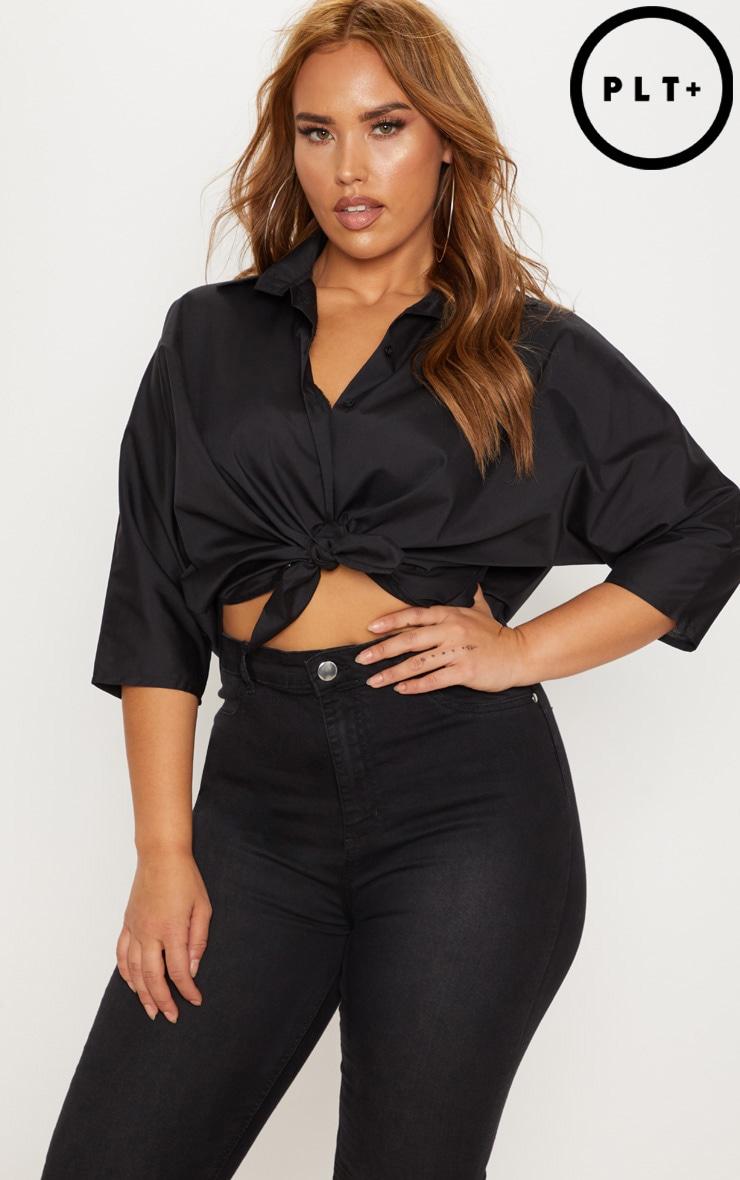 Plus Black Oversized Shirt 1