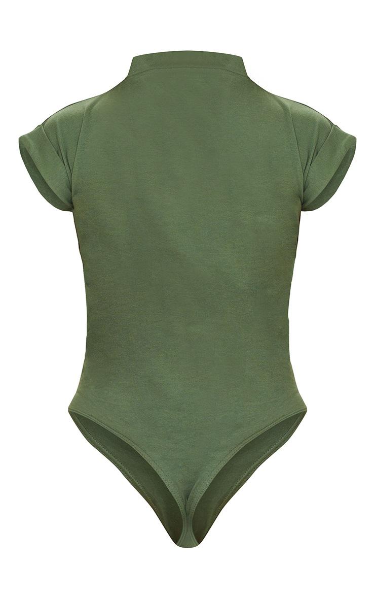 Khaki Cotton Folded Sleeve Ruched Side Bodysuit 6