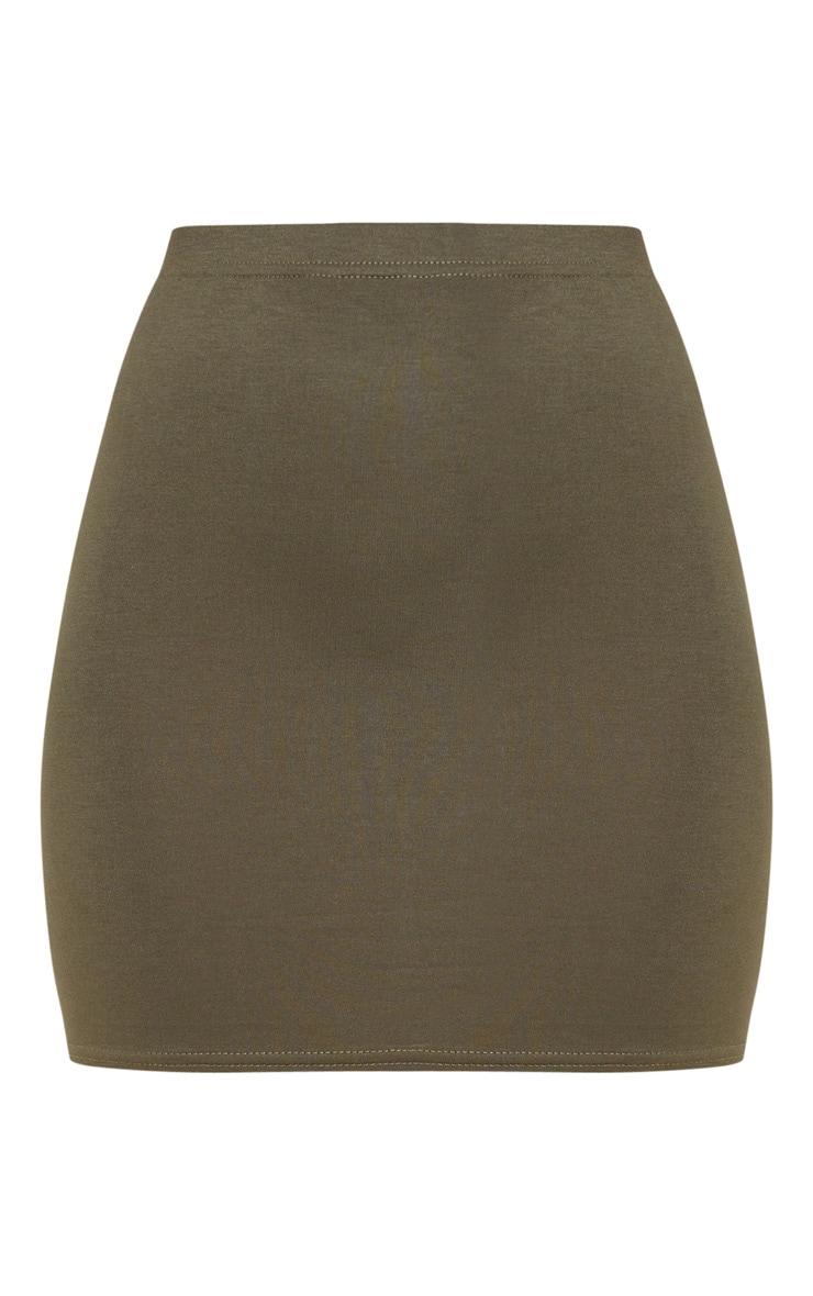 Basic Khaki Jersey Mini Skirt 6