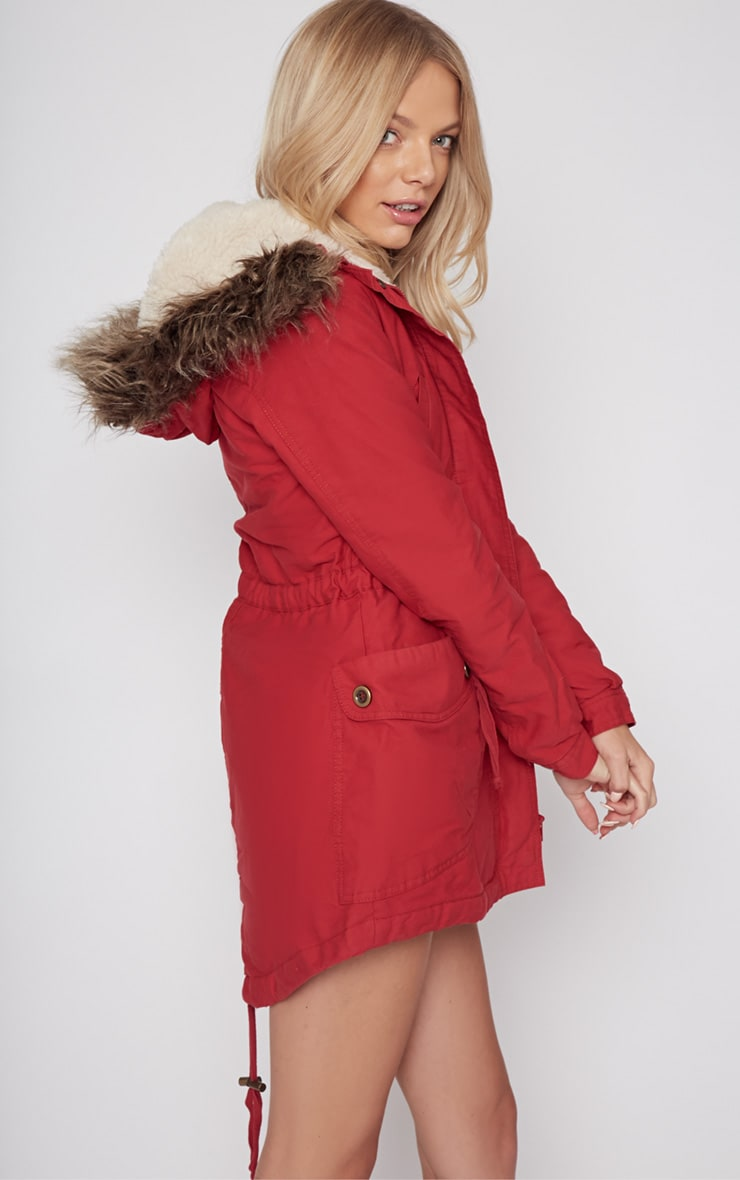 Andrea Red Parker Coat 3