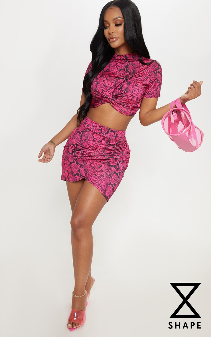 Shape Neon Pink Snake Print Ruched Side Slit Bodycon Skirt 1