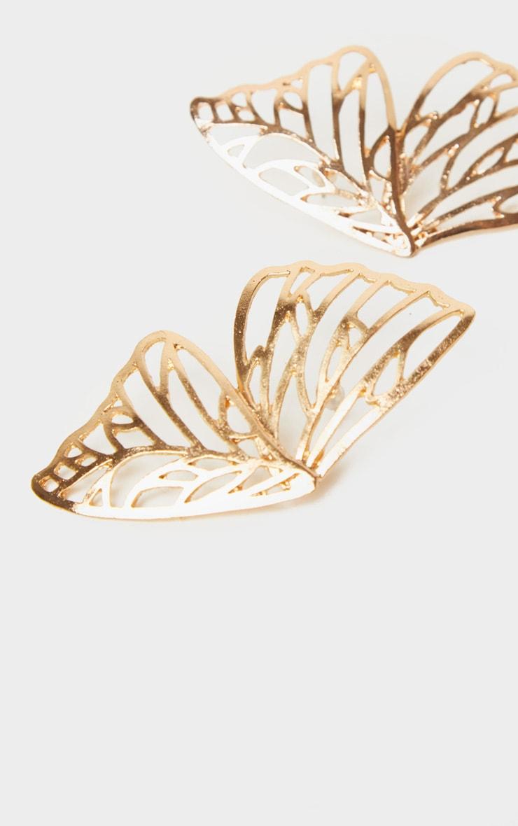 Boucles d'oreilles papillon dorées 3