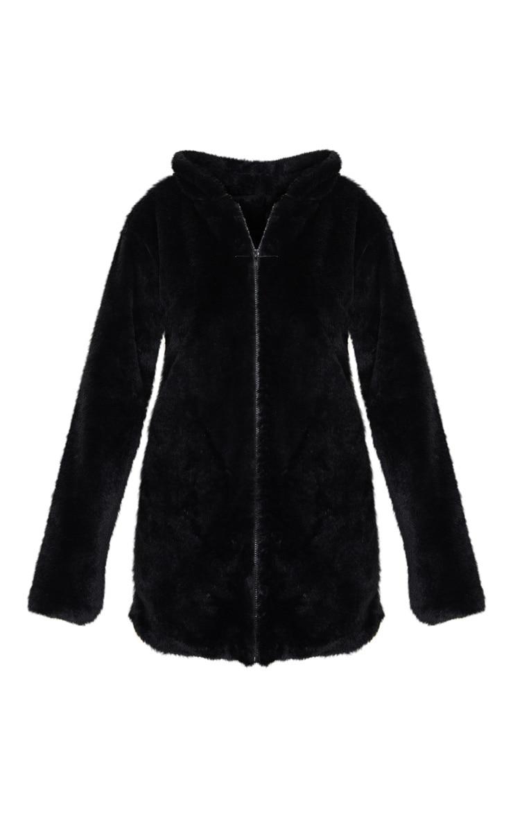 Black Hooded Faux Fur Midi Coat 3