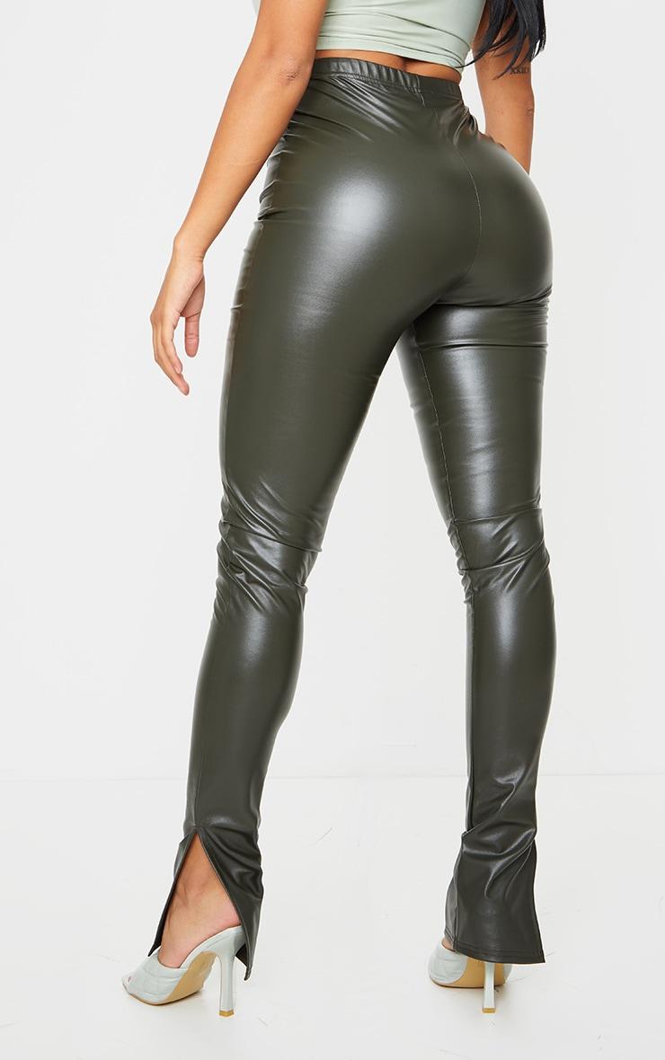 Shape Khaki PU Split Hem Pants 3